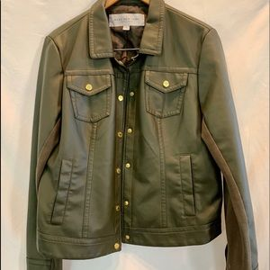 Andrew Marc Olive Green Jacket with Gold Snaps